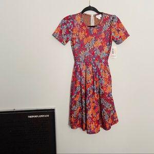 NWT Lularoe Amelia Blue/Red/Mustard Floral Dress